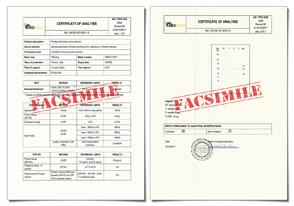 FACSIMILE of Certificate of Analysis (CoA)