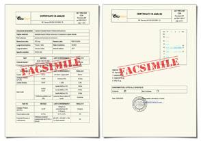 FACSIMILE Certificato di Analisi (CoA)